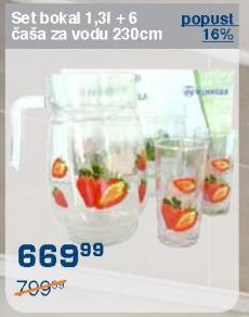 Set bokal 1,3l+ 6 Čaša za vodu