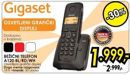Bežični telefon A120 bl/rd/wh