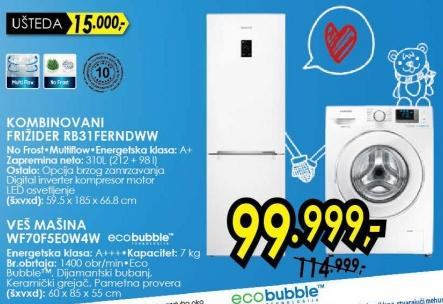 Kombinovani frižider Rb31ferndww i Veš mašina Wf70f5e0w4w