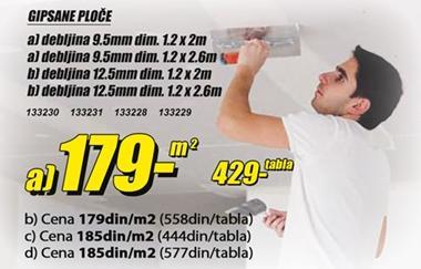 Gipsane ploče 12.5mm/1.2x2.6m