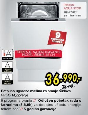 Potpuno ugradna mašina za pranje sudova GV51214