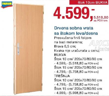 Drvena sobna vrata sa štokom 10cm leva/desna Trešnja