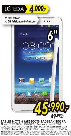 Tablet Note 6 Me560cg 1a038a/1b037a
