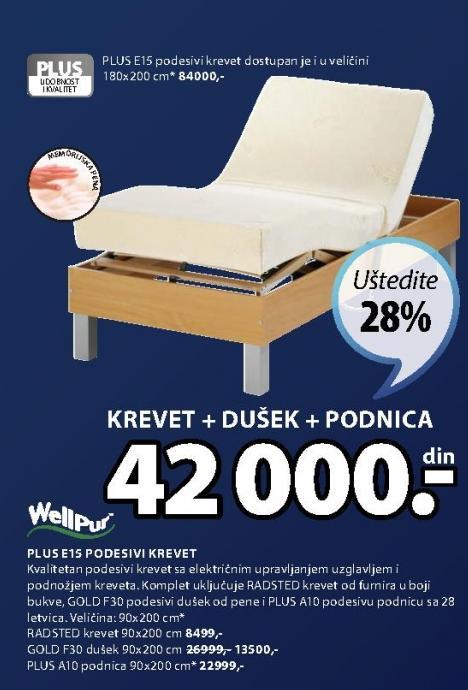 Podesivi krevet Plus E15 90x200cm