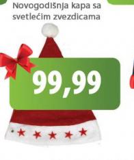 Novogodišnja kapa sa svetlećim zvezdicama