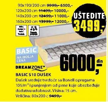 Dušek, Basic S10 160x200 cm