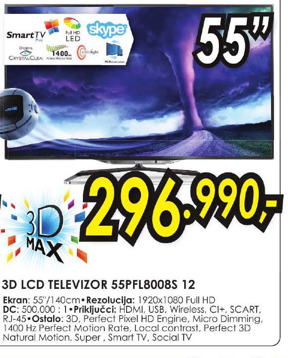 3D LCD Televizor 55PFL8008S 12