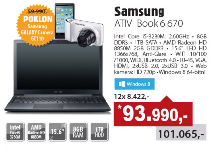Laptop ATIV Book 6 670 + poklon kamera Samsung Galaxy  GC110