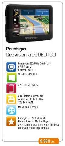 Navigacija Geovision 5050 Eu Igo