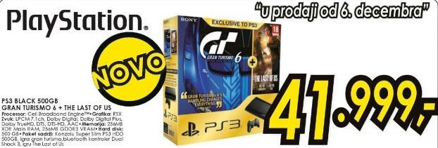 Konzola PS3 Black 500GB Gran Turismo 6 i The Last Of Us
