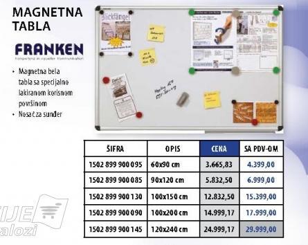 Magnetna tabla 90x120cm Fanken