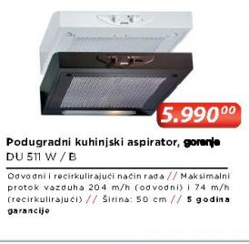 Podugradni kuhinjski aspirator DU511W/B