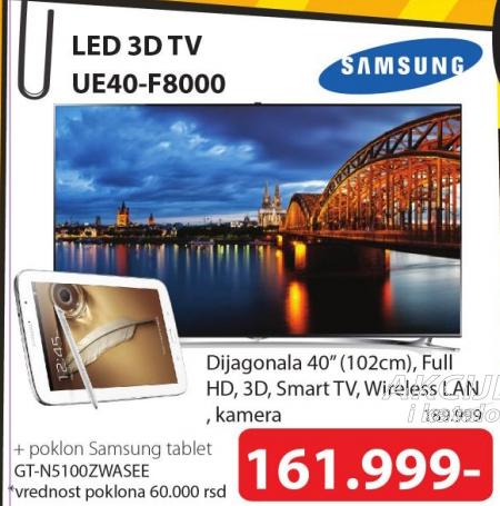 Televizor LED Samsung UE40-F8000+ Poklon Samsung tablet GT-N5100ZWASEE