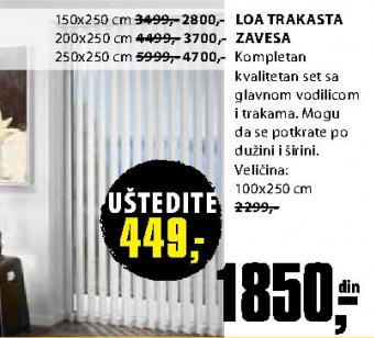 Trakasta zavesa Loa 100x250 cm