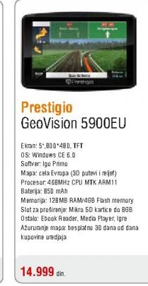 Gps navigacija GeoVision 5900EU IGO