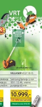 Akumulatorski trimer za travu VCGT 18-15