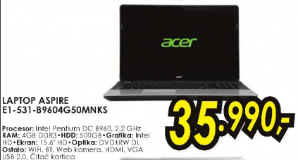 Laptop Aspire E1 531 B962G50MAKS