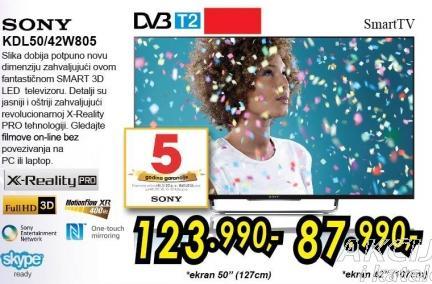 """Televizor LED 50"""" 3D Kdl50w805"""