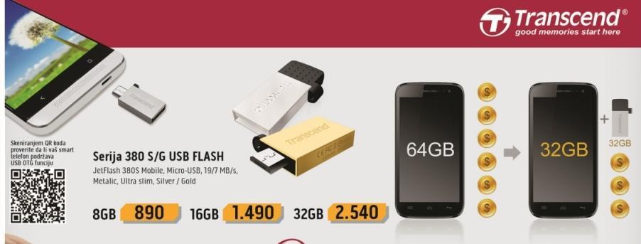Micro-USB fleš memorija 380S/G 16 GB