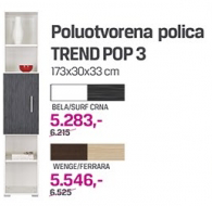 Poluotvorena polica Trend pop 3, bela/surf crna