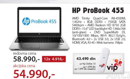 Laptop  HP ProBook 455 (H0W30EA)