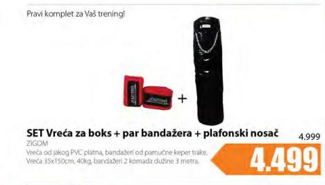 Set vreća zaboks+par bandažera+plafonski nosač - ZIGOM
