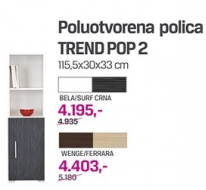 Poluotvorena polica Trend pop 2, bela/surf crna