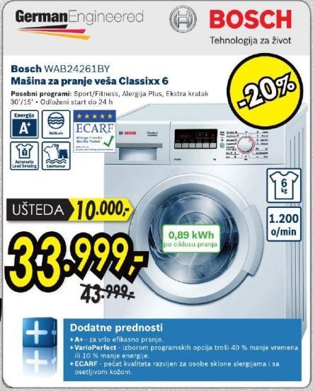Mašina za pranje veša Classixx 6 Wab24261by