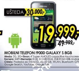 Mobilni telefon I9000 Galaxy S 8GB