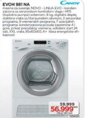 Mašina za sušenje veša EVOH 981 NA
