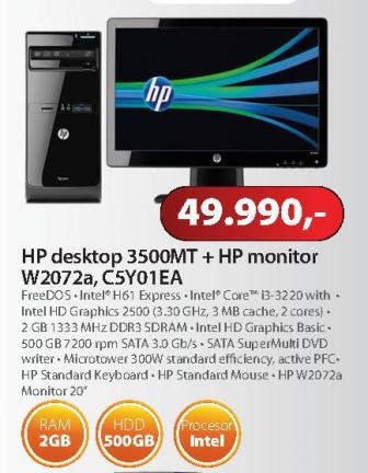 """Računar 3500MT + monitor W2072a 20"""""""