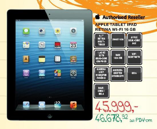 Tablet iPad retina 16GB Wi-Fi