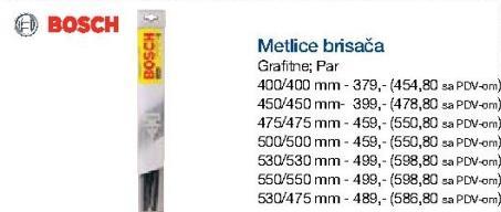 Metlice brisača 400/400mm