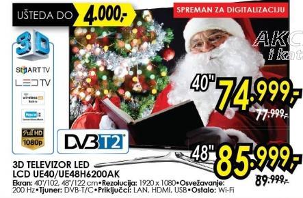 """Televizor LED 48"""" 3D Ue48h6200ak"""