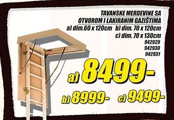 Tavanske merdevine 60x120cm