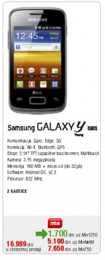Mobilni Telefon GALAXY Y Duos