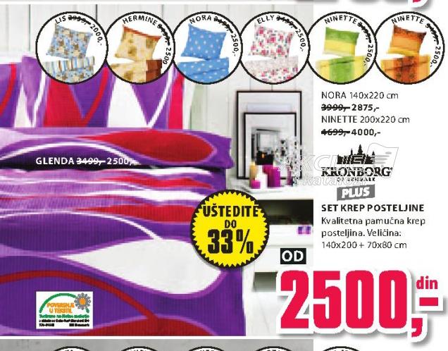 Set krep posteljine Glenda 140x200 + 70x80cm