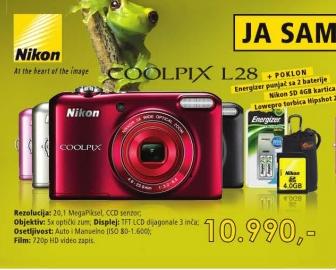 Fotoaparat NIKOM Coolpix L28 +Poklon energetski punjač za dve baterije+Nikon SD kartica4GB+torbica