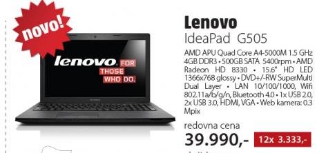 Laptop IdeaPad G505 59376773 Opis