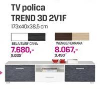 TV polica Trend 3D 2V1F, bela/surf crna