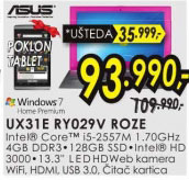 Laptop Zenbook UX31E RY029V ROZE+Poklon: Goclever tablet TERRA 70L