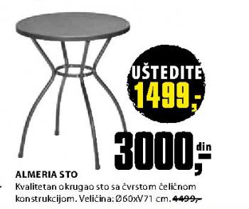 Baštenski sto Almeria