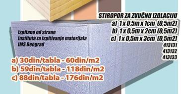 Stiropor za zvučnu izolaciju 2cm
