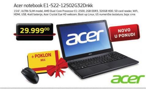 Laptop notebook Acer E1-522-12502G32Dnkk+Poklon miš