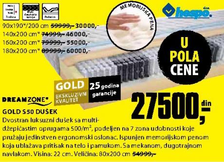 Dušek, Gold S50 160x200 cm