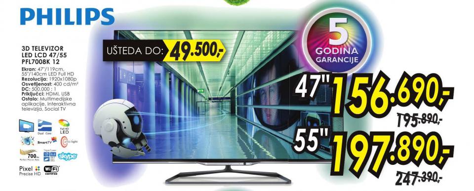 Televizor 3D LED 47PFL7008K 12