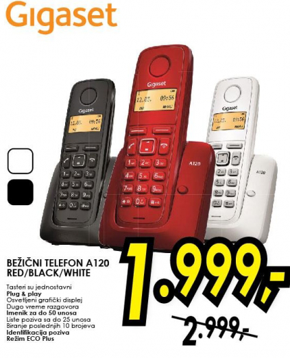 Bežični telefon A120 RED/BLACK/WHITE