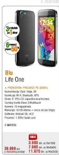 Mobilni telefon Blu, Life One