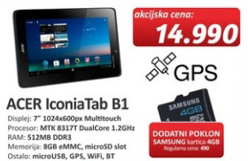 Tablet Iconia Tab B1 + poklon kartica 4GB Samsung