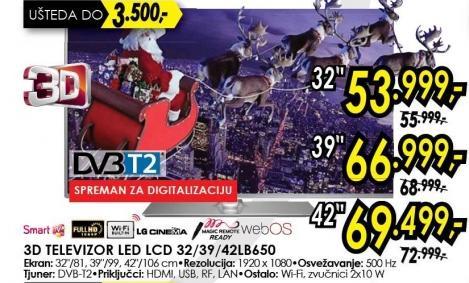 """Televizor LED 39"""" 3D 39lb650"""